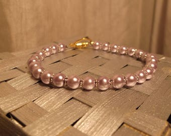 Simple Lavender Pearl Bracelet