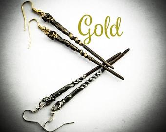 Wand Earrings Gold