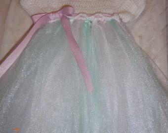 Girl's dress, crochet/tulle dress, girl's crochet/tulle dress, child's crochet/tulle dress