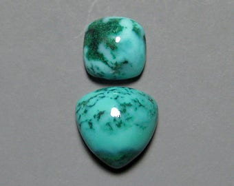 Gem Silica Chrysocolla with Malachite Cabochons from Peru, 9mm and 7mm