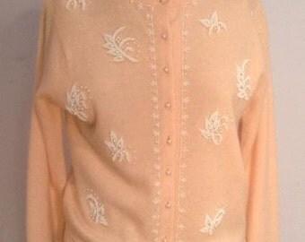 beaded cardigan sweater pink  vintage 1950's