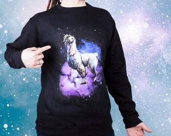 Llama sweatshirt Sugar Llama sweatshirt ALpaca shirt Funny shirt Glamour llama Funny sweatshirt Valentines day gift Space sweatshirt  024