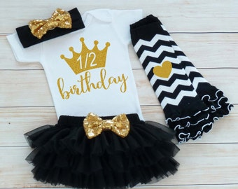 Baby Half Birthday Shirt, Cake Smash Outfit, Half Birthday Outfit Girl, 6 Month Birthday Bodysuit, Half Way To One Outfit, 1/2 Birthday Girl
