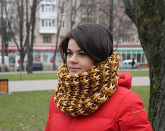 Oversized Chunky Cowl Wool Hooded Cowl Snood Itted Snood Knit Scarf Handknit Cowl, Handmade Scarf  Hooded Wrap Scarf Crochet Infinity Scarf