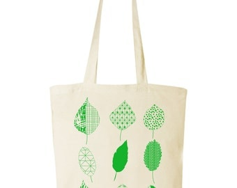 cotton bag with leaves print