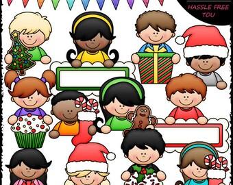 Christmas Topper Kids Clip Art and B&W Set