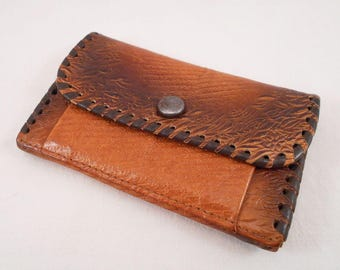 Vintage Soviet Real Leather Wallet, Brown Pouch, Purse With Floral Ornaments, Brown Orange, Coins Purse, Made In USSR, 1970's