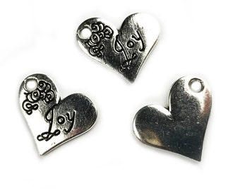 5 pcs Joy Heart Charm - silver