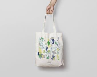 Tote bag TROPICAL / design cotton bag / purse jungle / shopping bag / tote leather bag / light canvas tote bag / beach bag
