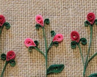 Quilled Pink Flower Trio