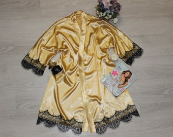Women's  Satin Robe, Kimono robe, Robe with sleeve, Lace robe, Gift for Women, Satin Robe, Free Delivery.