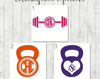 Fitness Decal, Weight Lifting Monogram, Workout Decal, Kettlebell Decal, Fitness Monogram, Fitness Sticker, Barbell Decal, Weight Car Decal