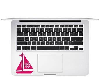 Sailboat Monogram Decal - Sailing Monogram - Custom Boating Decal - Ocean Lover Decal - Sailboat Laptop Decal - Nautical Yeti Decal - Boat