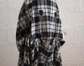 Tartan Skirt - Black & White - please read description for sizing
