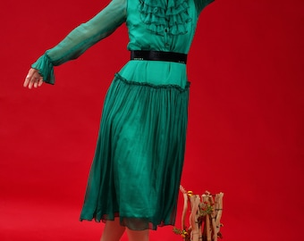 Accomplish Dress (Green Silk Muslin Ruffles Midi Dress)