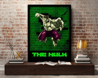 The Hulk, Poster, print, Incredible, Green, Angry, Bruce Banner, gift, Marvel, gift for him, gift for her, kids, smash, wall, art,