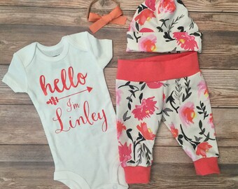 WaterColor Floral Newborn Coming Home Outfit, Hello World Name, Hello World Outfit, Coming Home Outfit Girl, Going Home Outfit Girl, Custom