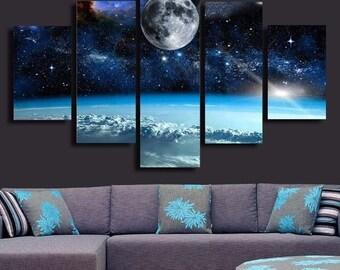 Space- split famed canvas print