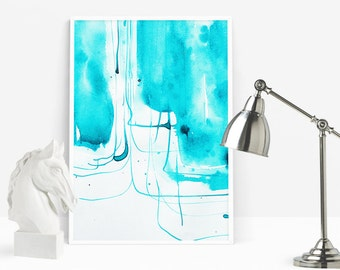 Turquoise Prints, Abstract Painting Print, Aqua Prints, Watercolor Printable, Ink Abstract Prints, Living Room Art, Paintbrush Modern Art