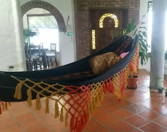 Hammock, double hammock. Hand Woven 100% Cotton with hand made Bell Fringe, black,red,yellow and green.