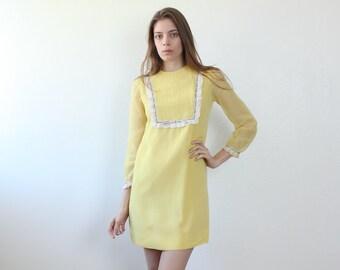 60s Mini Dress // Vintage Yellow Shift Dress Long Sleeved Lolita Ruffled Bib - Extra Small xs