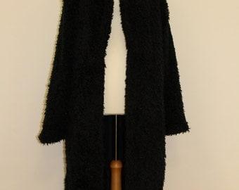 Long Simulated Fur Coat (Black)