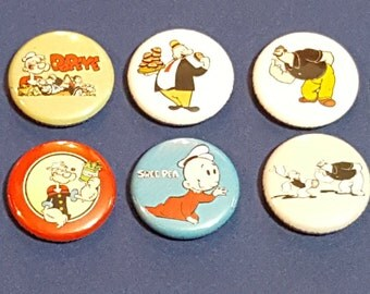 Popeye the Sailor Man set of 10 pinback buttons featuring Popeye, Oliveoile, Wimpy, Bluto and Sweetpea button badges pin pins