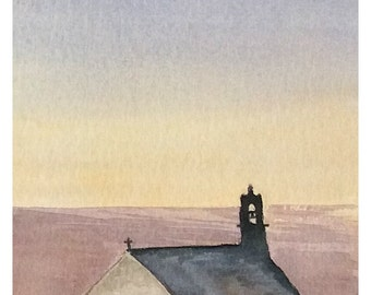 Original watercolor painting, seascape, Brittany