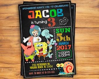 Spongebob Invitation, Spongebob Birthday Invitation, Spongebob, Spongebob Printable, Spongebob Card, Spongebob Invite