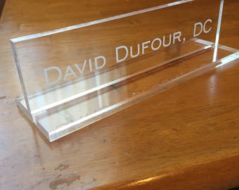 Desk Conquer: Clear Acrylic Nameplate