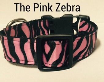 "Pink Zebra Dog Collar, Animal Print Dog Collar, Collar & Leash Sets, Girl Dog Collar, 1"" Dog Collar, Medium / Large Dog Collar, Pet Supplies"