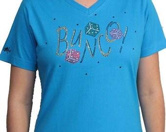 Rhinestone Bunco Unique Custom Women's Cute Fun Glitter Cool Embroidery  Bling  V-neck T shirt Cindy's Handmade Shirts Boutique