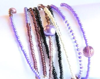 Wrap cuff bracelet - Silver and purple