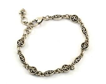 Vintage Scroll Design B Signed Tennis Bracelet 925 Sterling BR 1208