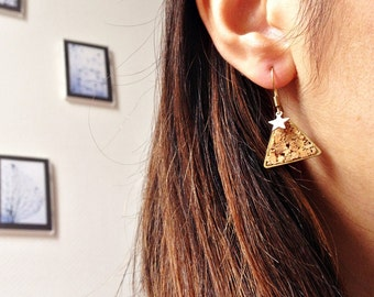 Earrings triangle Cork sequin star STELLAR