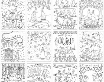 12 Jane Austen Greeting Cards to Color