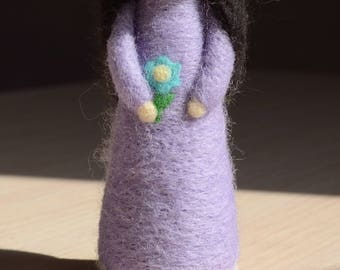 Felt doll Girl figurine Needle felted doll Wool doll Soft toy Gift for girls  Waldorf figure Violet girl with flower wreath hadmade doll