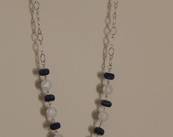 Blue and white sparkle necklace