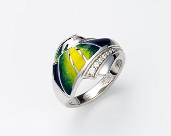 "Enamel Silver Ring ""Hummingbird"", Hummingbird ring, Animal jewelry, Tropical bird, Exotic bird,Beach jewelry"