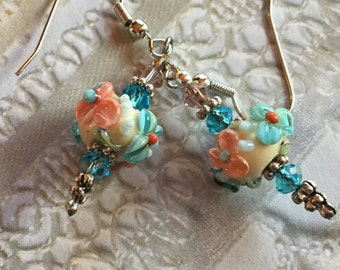 Flower Lampwork Earrings, White, Peach & Pale Blue Floral Earrings, Lampwork Jewelry, Mothers Day, Gift For Her, SRA Lampwork Jewelry