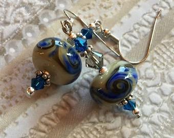 Deep Blue and Cream SRA Lampwork Earrings, SRA Lampwork Jewelry, Mothers Day, Gift For Her,  Blue Swirl Earrings