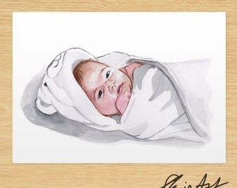 Custom Child Portrait Commission, Baby, Watercolour Illustration, Original, Gifts for Parents, Custom Watercolor Painting from Photo