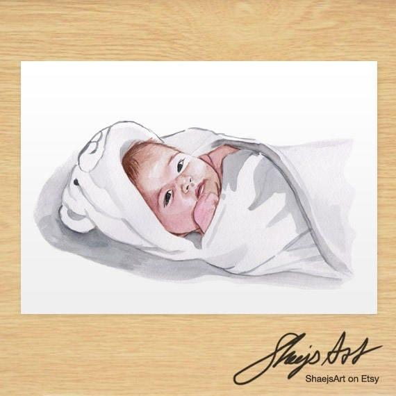 Hasil carian imej untuk painting baby sleeping  by watercolour