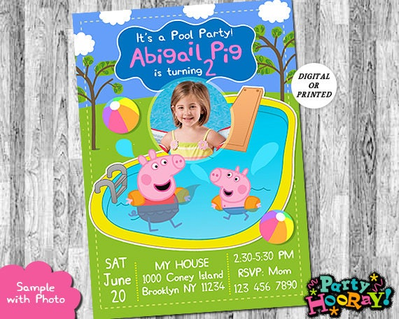 Peppa Pig Pool Party Invitation Peppa Pig Pool