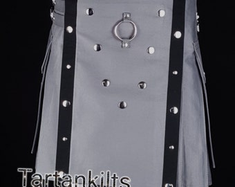 Gothic Style Fashion UTILITY KILT Custom Size Available Color Brown Blue Red Green White