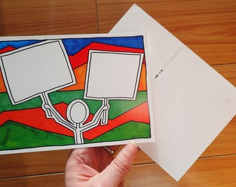 Postcard - Stick Figure at Rally or March with Signs, Write-Your-Own Activist Postcard in Original Marker Design