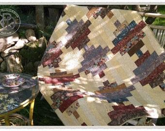 Quilt Log Cabin blanket, handmade patchwork, lap quilt, warm color palette, home decor, elegant,