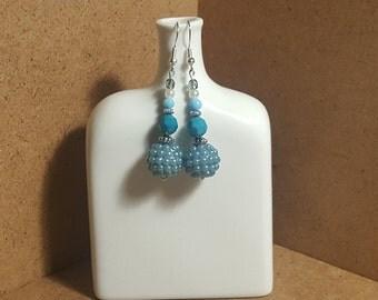 Blue Earrings, Disco Ball, Beaded Earrings, Long Dangly Earrings.