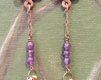 Antiqued copper Endless/Buddhist/Eternal knot charm earrings with purple beads