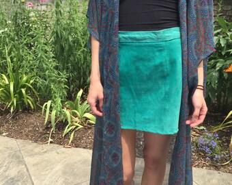 vintage leather teal mini skirt